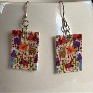 Llama earrings with sterling silver findings